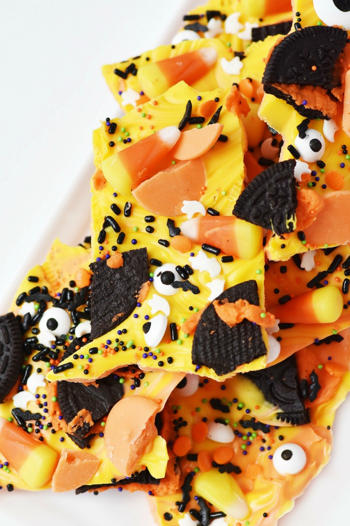 Orange and Yelllow Halloween Candy Bark 1