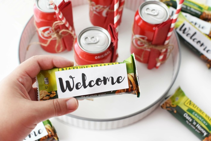 Welcome Stickers on Granola Bars 1