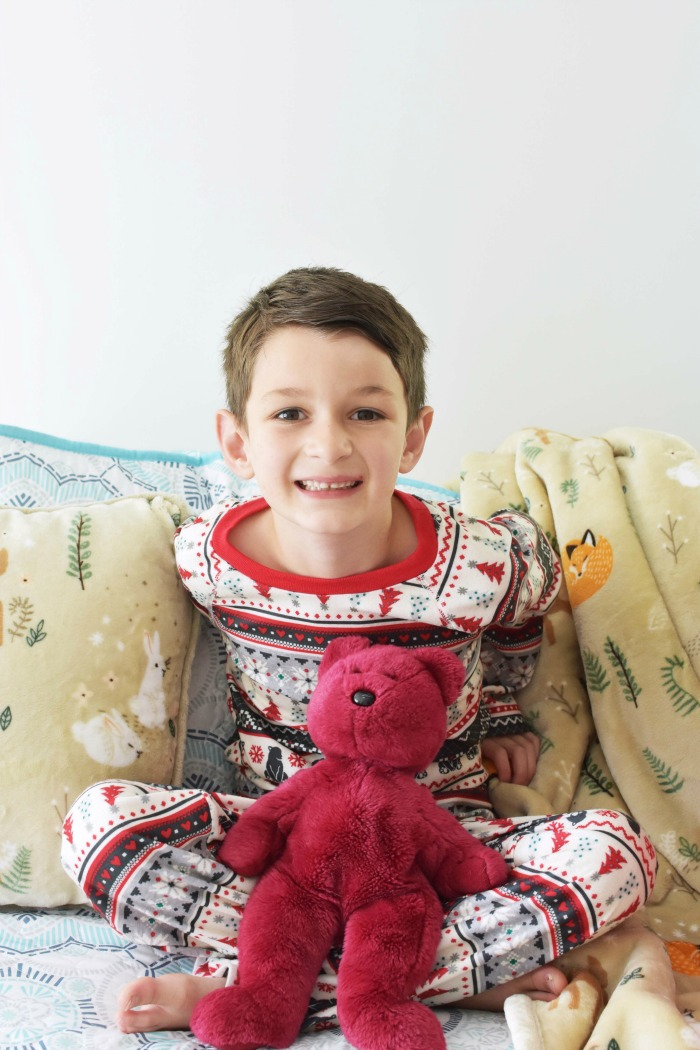 Boy with red bear 1