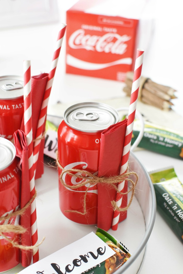 Coke Cans with napkin and straws 1