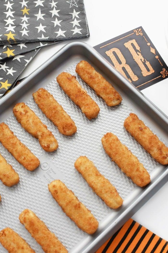 Fish sticks on baking tray 1