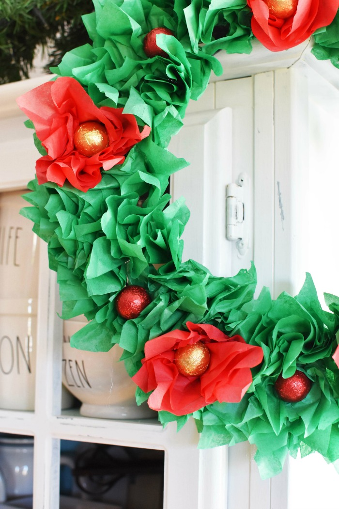Candy Wreath with Tissue Paper 1
