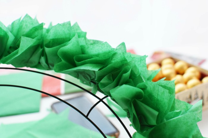 Green Christmas Tissue Paper Candy Wreath 1