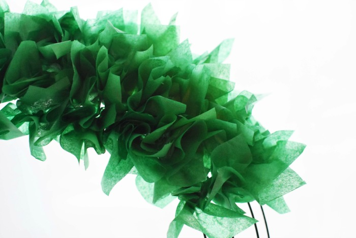 Green Tissue Paper Christmas Wreath 1