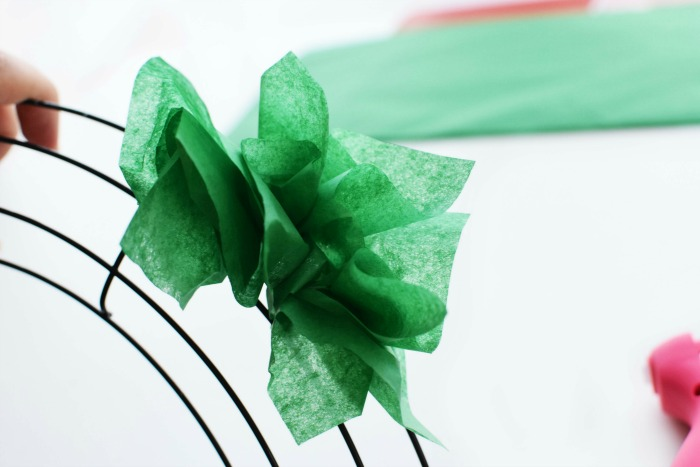 Green Tissue Paper Flowers in Wreath Hoop 1