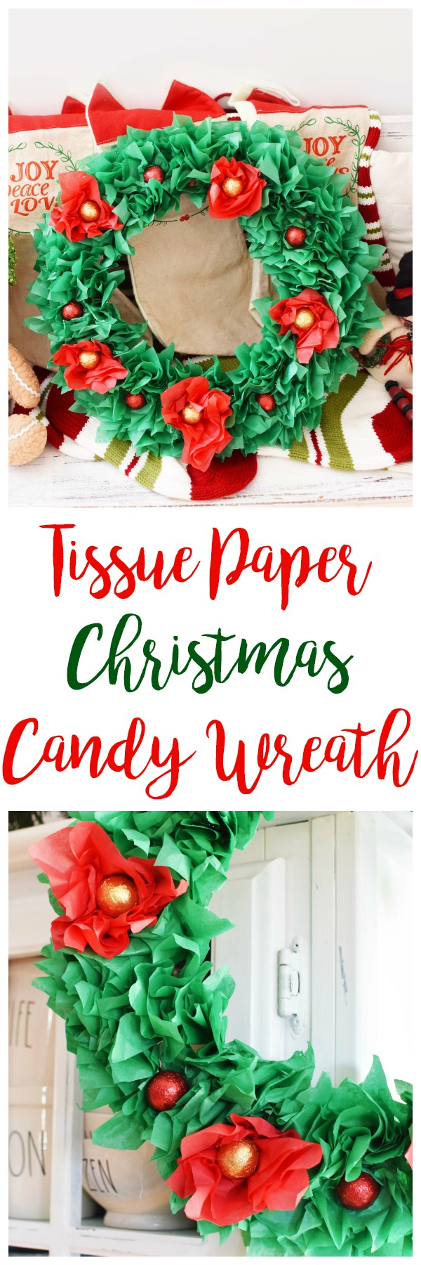 Tissue Paper Christmas Candy Wreath. This holiday wreath is made from tissue paper and features Palmer's Chocolate Caramel foil balls. The total cost to make it was only $3!!! Make this wreath with products you can find at your local dollar store or retailer.