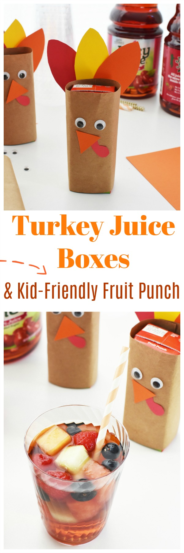 Kid-Friendly Thanksgiving Party Punch & Turkey Juice Boxes. A fun & Easy Thanksgiving craft for kids, these turkey juice boxes are easy and cheap to make. Pair them with some kids party punch with fruit, and no one will miss out on yummy Thanksgiving drinks! #thanksgiving #partyfruitpunch