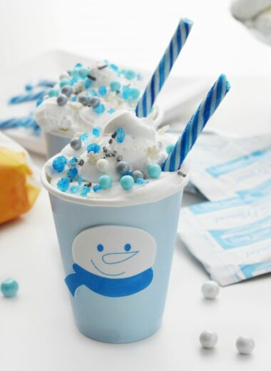 Winter Hot cocoa in blue cup 1