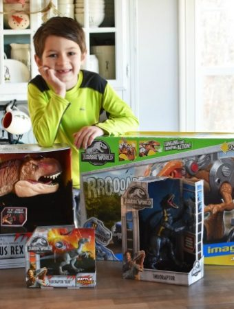 Boy with Jurassic World Toy Dinos 1