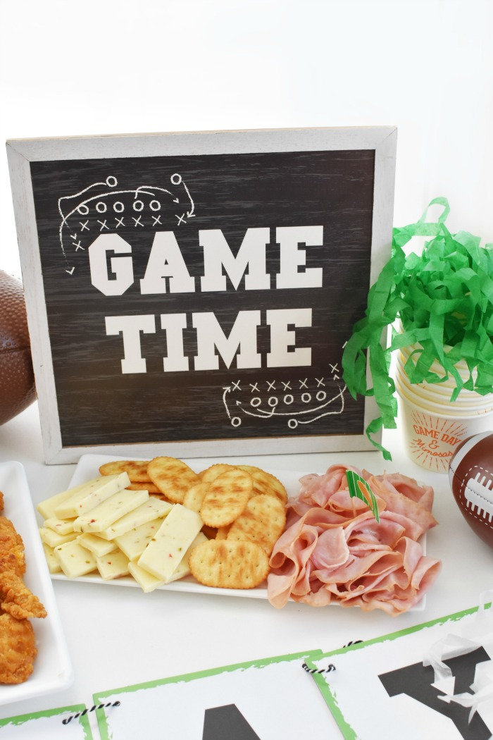 Game day sign and snacks 1