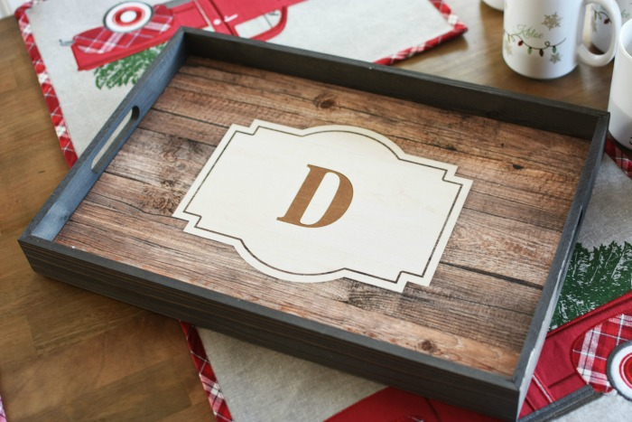 Monogrammed Wood Serving Tray 1