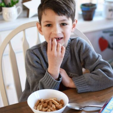 Boy eating churros cereal 1