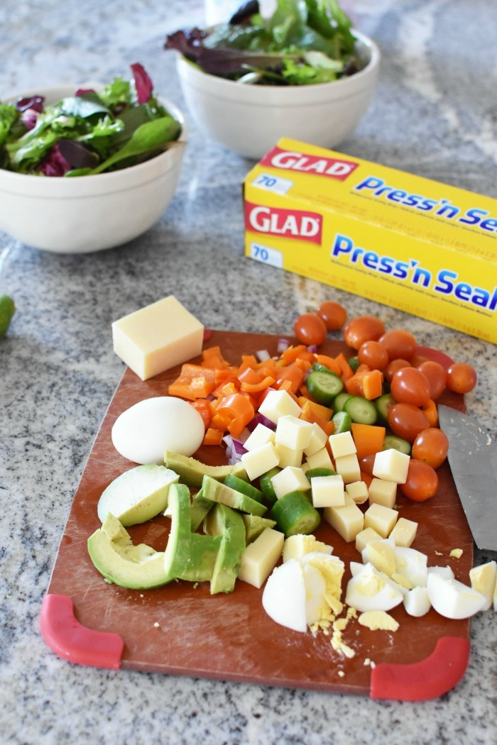 Chopped Salad veggies on cutting board