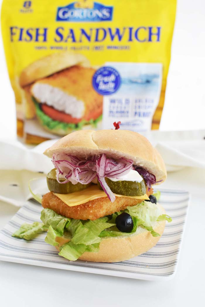 Crispy Fish Sandwich with veggies