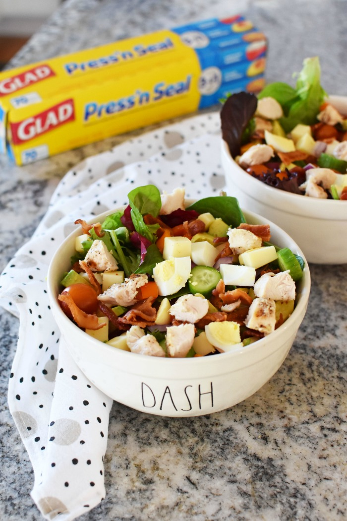 Low Carb Chopped Salad recipe in white bowl