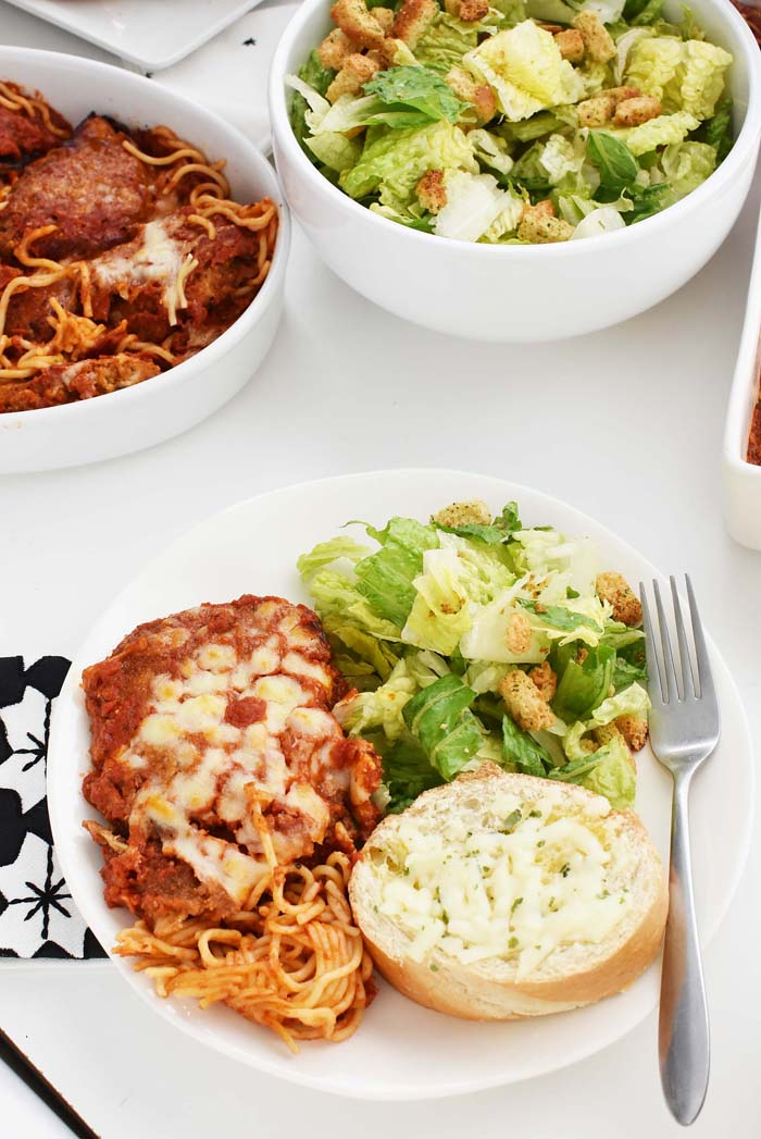 Chicken Parmesan and salad 1