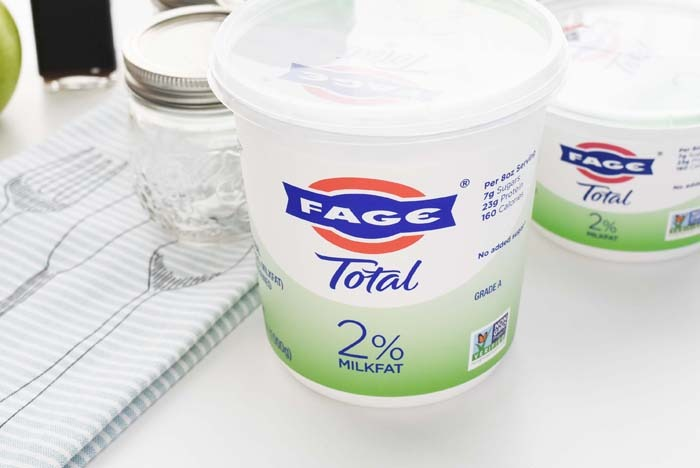Fage 2% yogurt containers