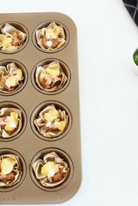 Cheese and Beans in Wonton Cups