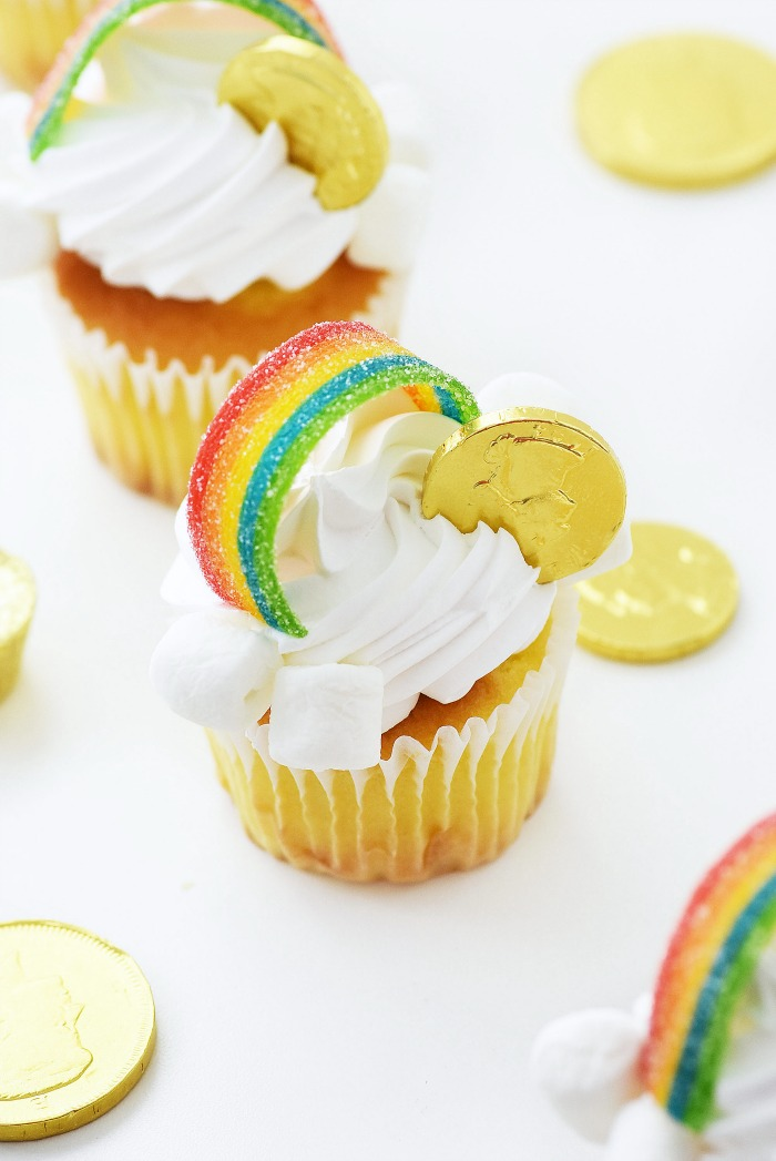 Gold Rainbow Coin Cupcakes