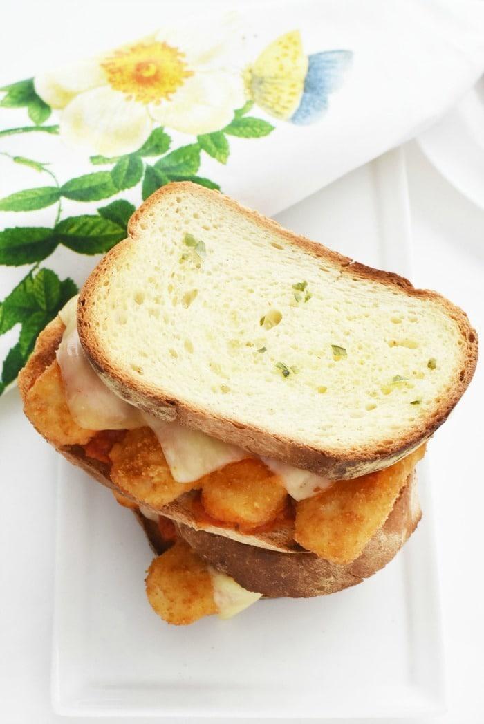 Garlic bread cheese marinara and fish sticks 1