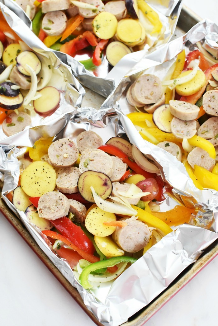 Sausage Peppers and Potatoes Foil Packs 1