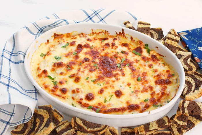 Corned Beef Reuben Dip in white dish
