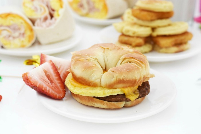 Jimmy Dean Sausage sandwich with strawberry slices