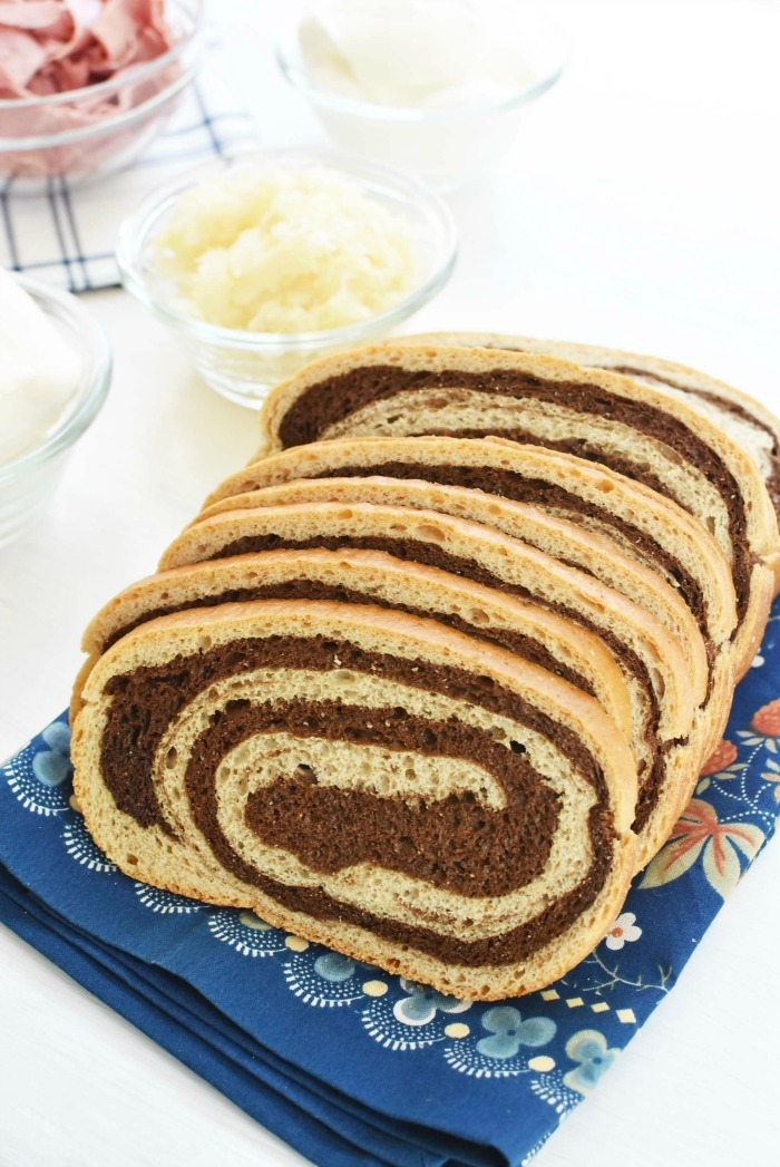 swirl rye bread on table