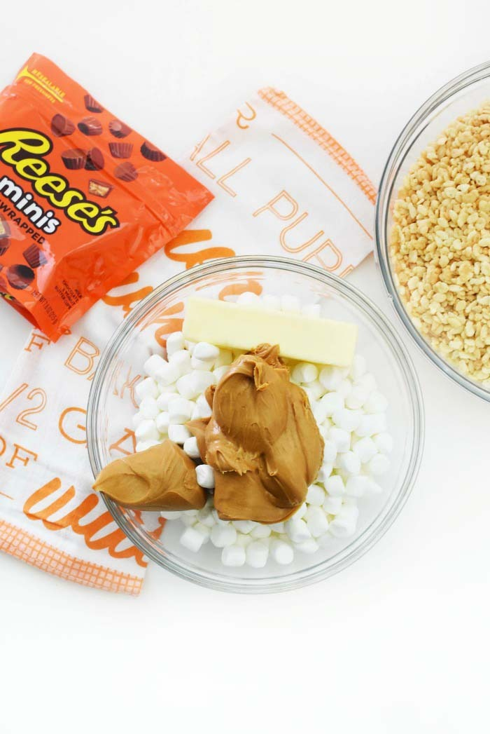 Peanut Butter Rice Cereal Treats Ingredients on white table