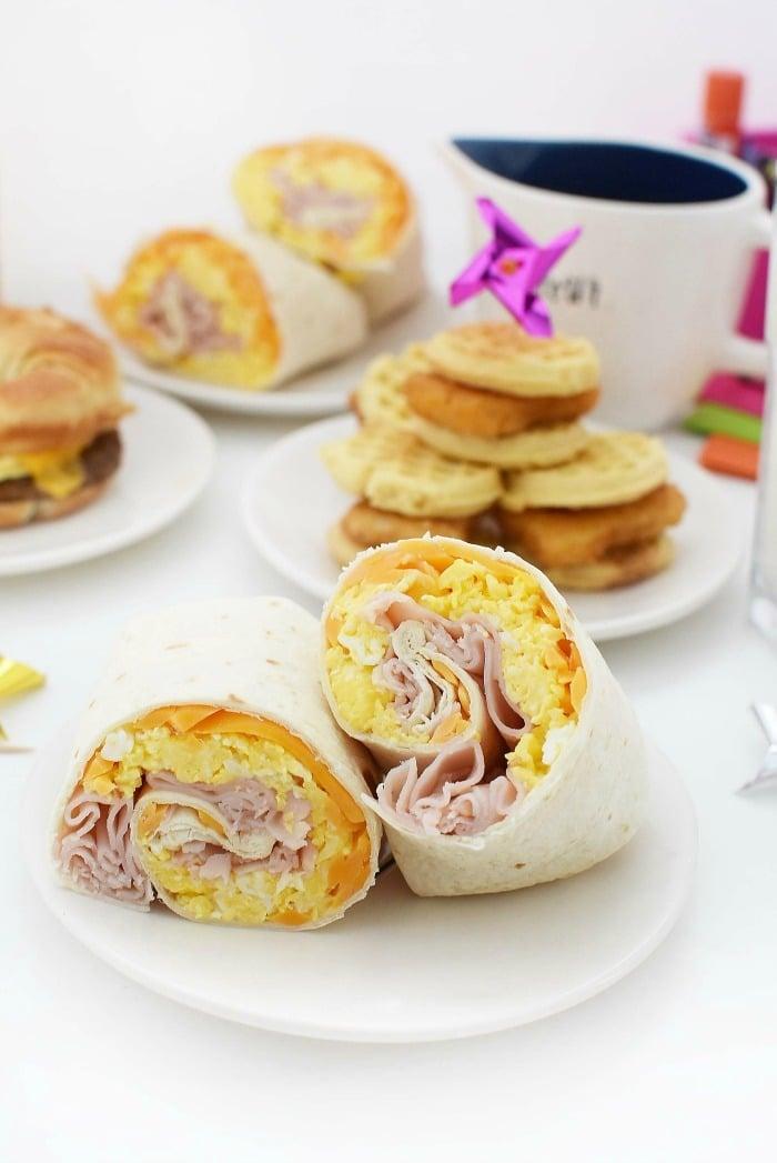 Quick Breakfast Burrito on a white plate