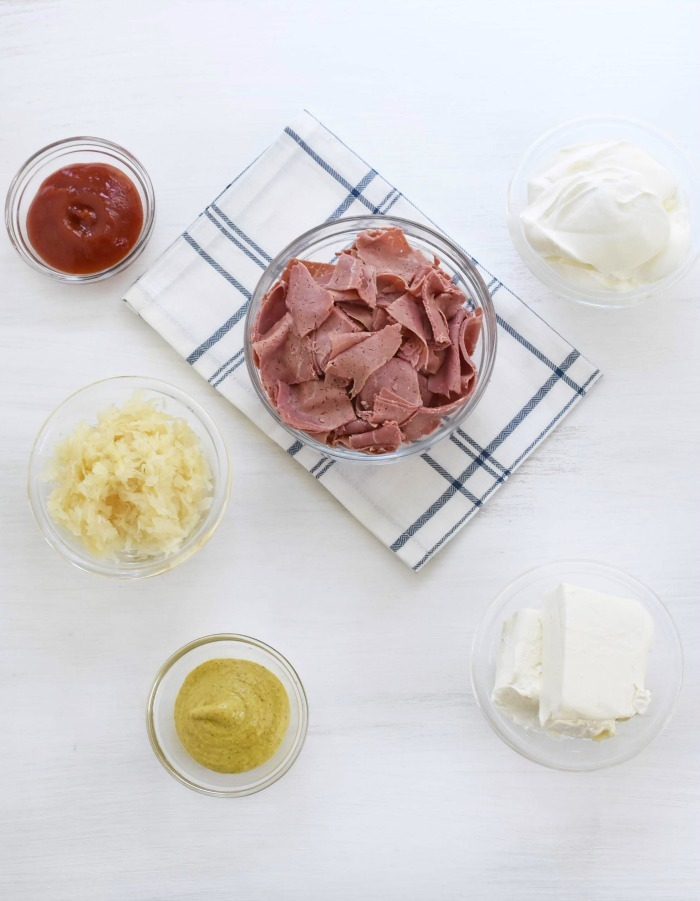 ingredients for Reuben on white table