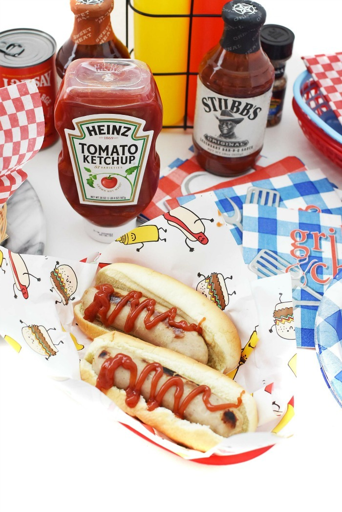 sausage dogs with ketchup swizzle