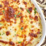 Corned Beef Reuben Dip Recipe in a white dish