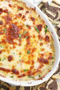 Corned Beef Reuben Dip Recipe in a white dish