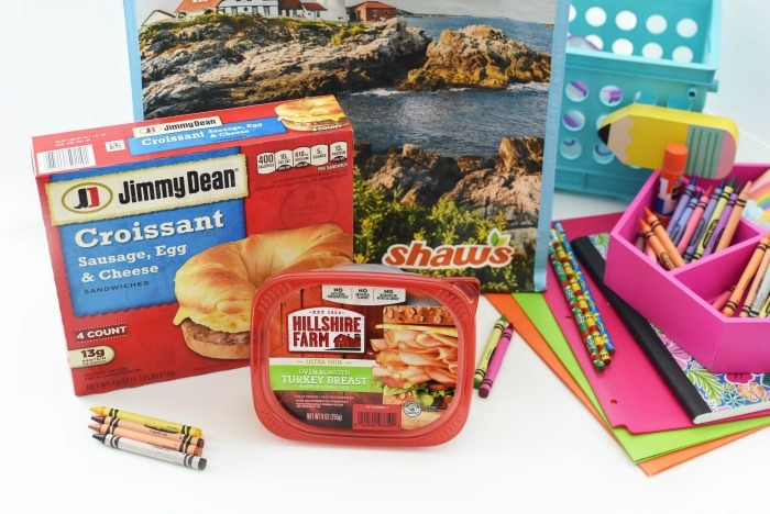 Jimmy Dean sausage sandwiches and Hillshire farm turkey with school supplies