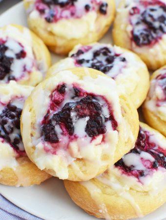Blackberry cream cheese crescent danish