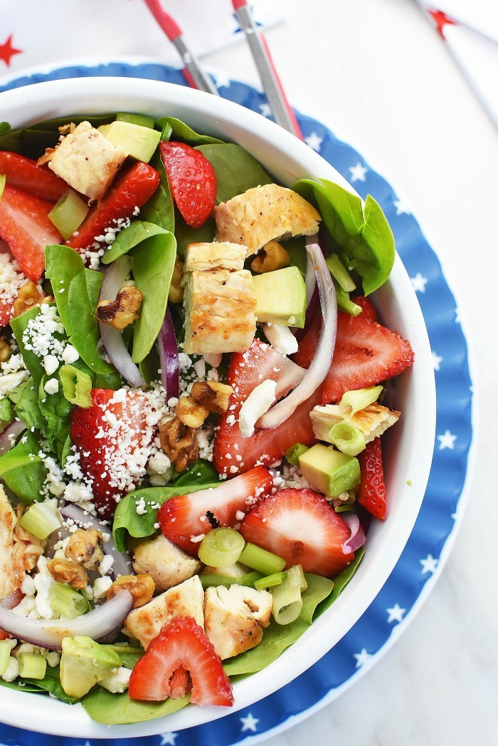 Strawberry Spinach Salad with Feta and Chicken 1