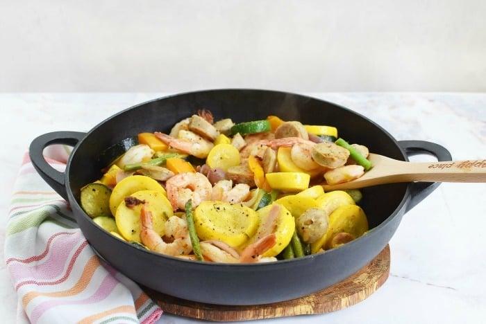 Chicken Sausage and Shrimp Vegetable Skillet
