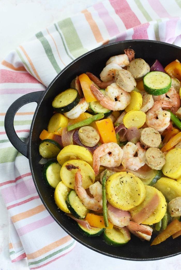 Healthy Veggie Shrimp and Sausage Skillet