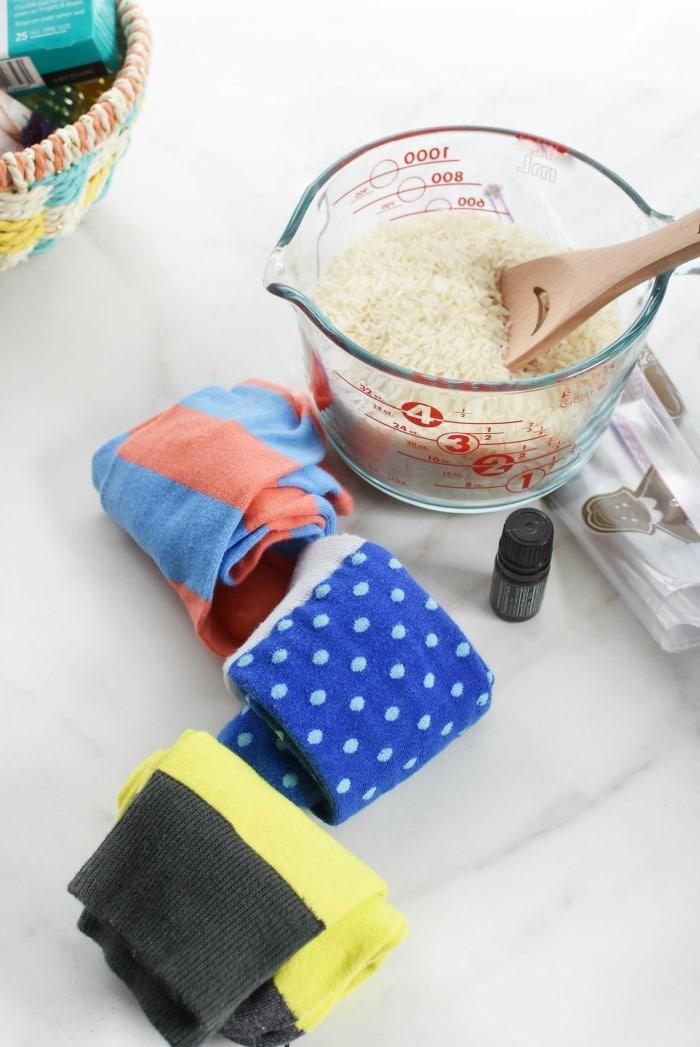 Homemade sock boo boo bags