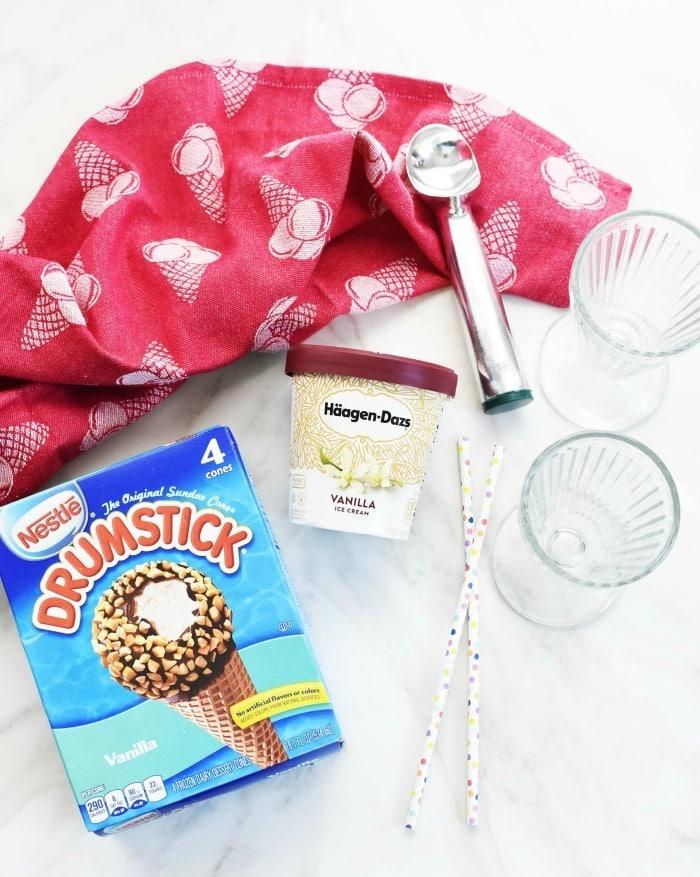 Ice cream sundae glasses and ice cream