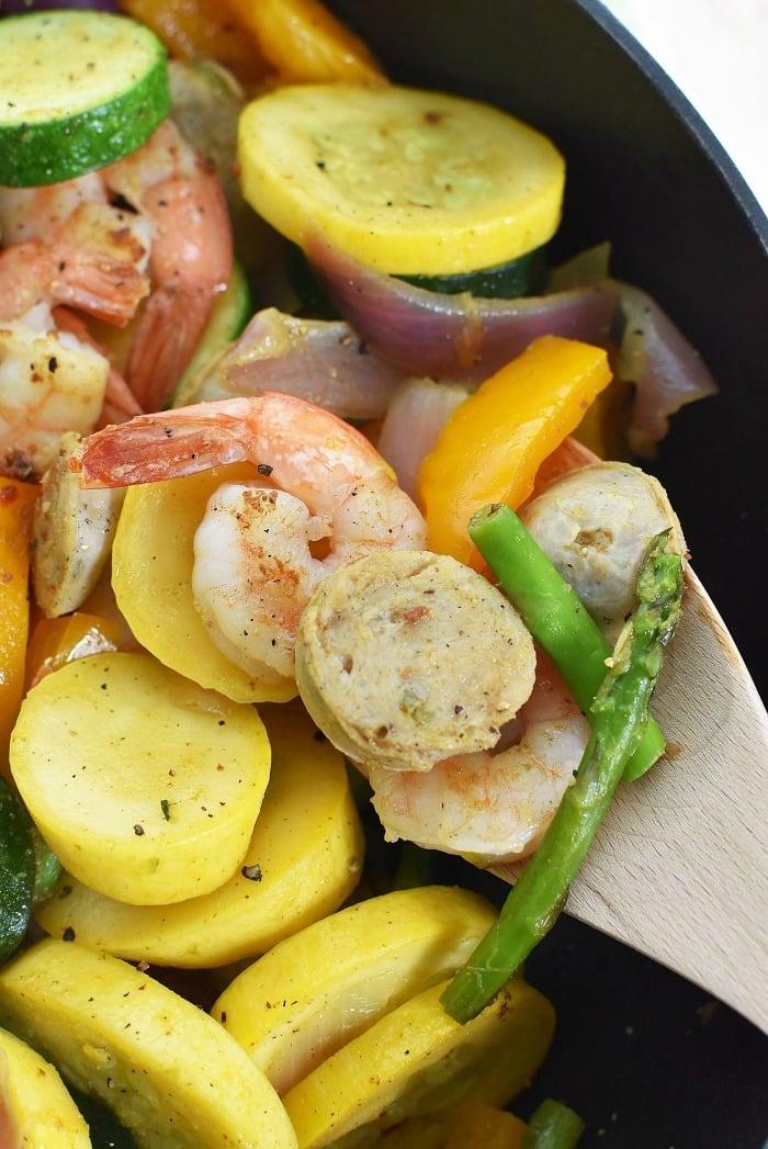 Shrimp Sausage Veggie Skillet