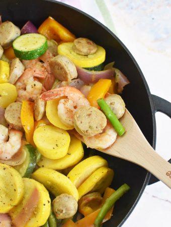 Shrimp, Sausage, and veggie skillet