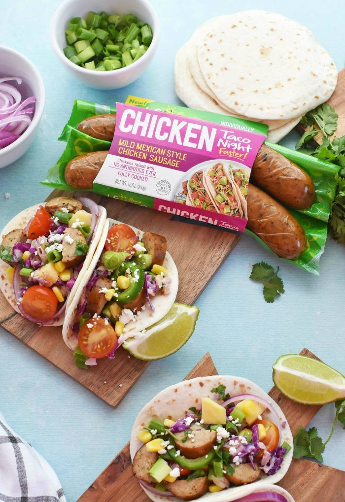 Chicken tacos with al fresco sausage