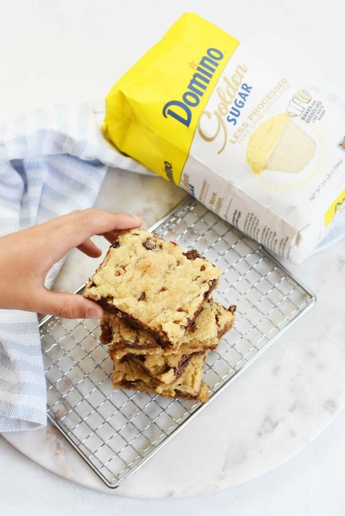 Blondies made with golden sugar
