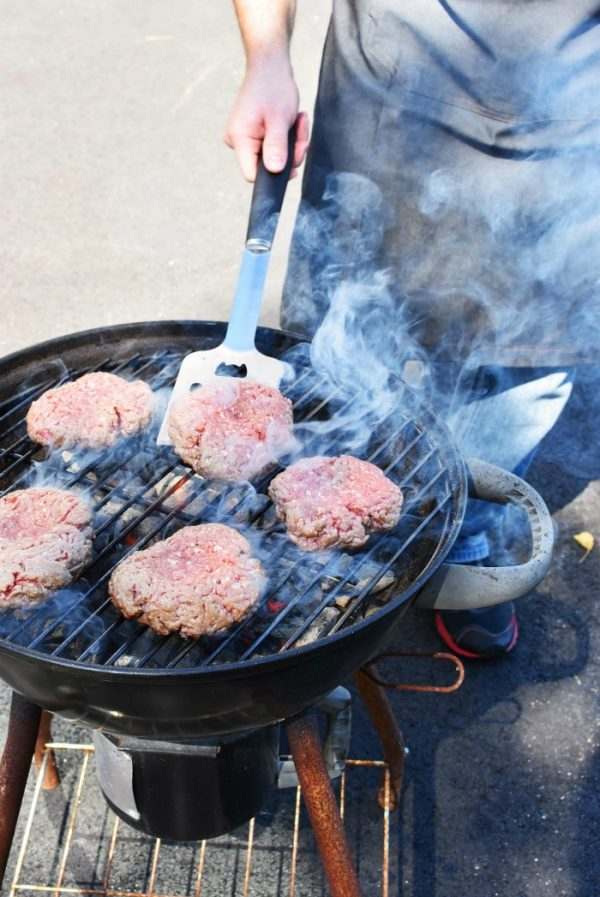 Grilling Burgers with Charcoal
