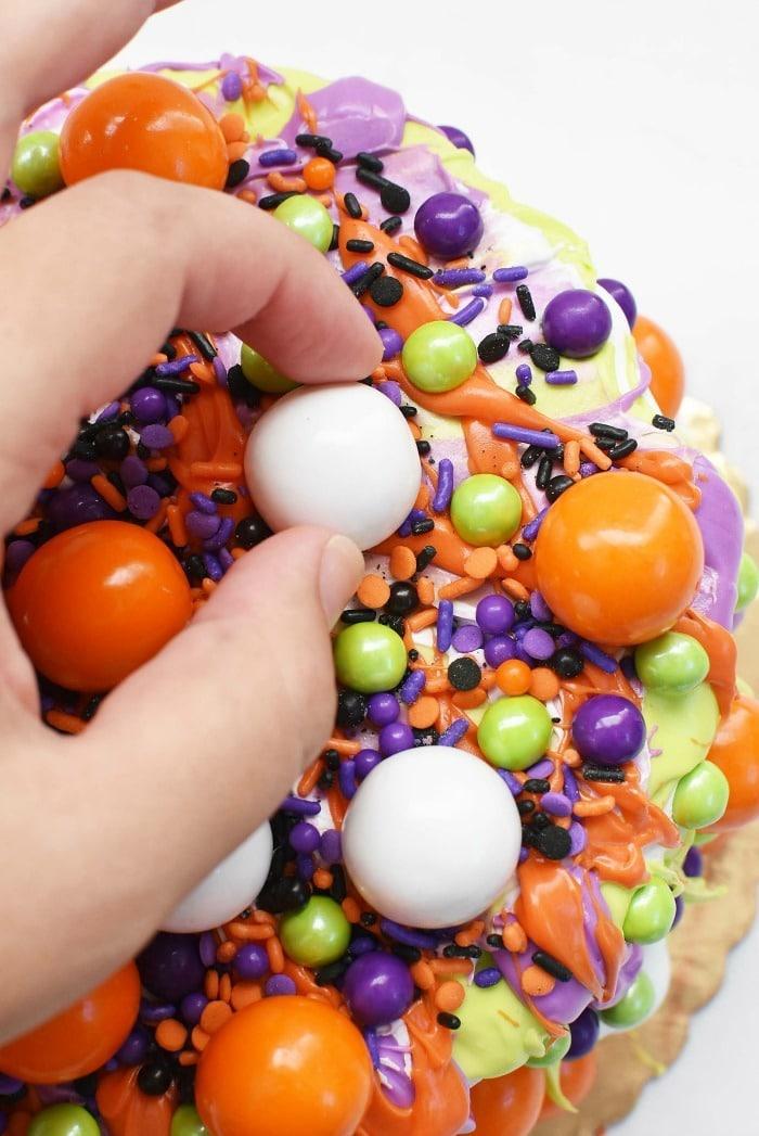 Gumballs on Halloween Cake