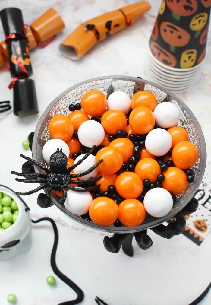 Halloween Gumballs in Spider Dish