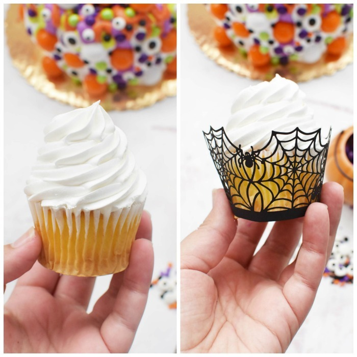 Semi homemade spider cupcakes