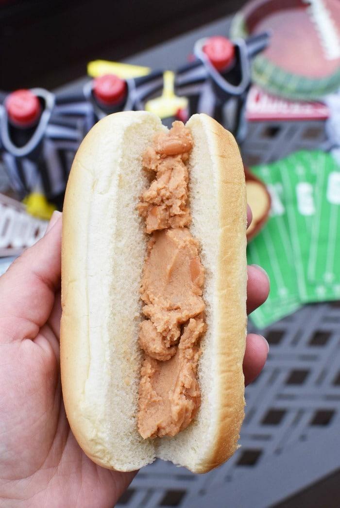 Beans on hot dog bun